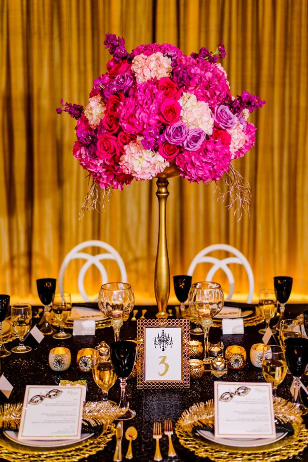 Tall pink and gold wedding centerpiece - Kirth Bobb Photography