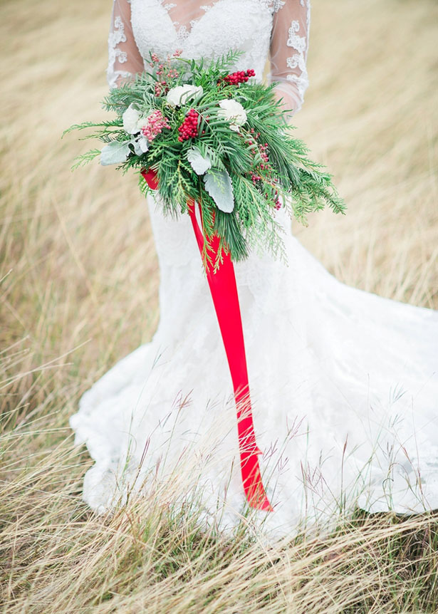 Holiday inspired bridal bouquet - Dani Cowan Photography