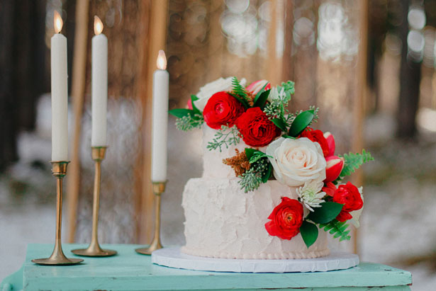 Red and green wedding cake - Julli Anna photography