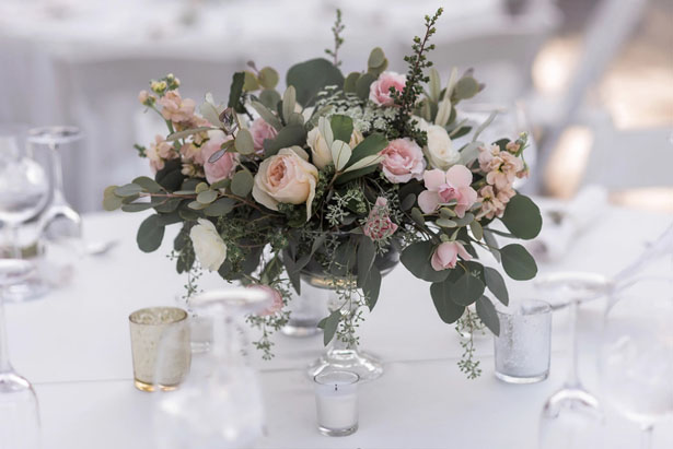 Pink floral wedding decor - William Innes Photography