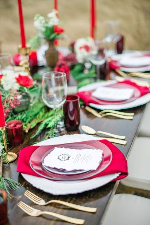 Red and gold wedding table setting - Dani Cowan Photography