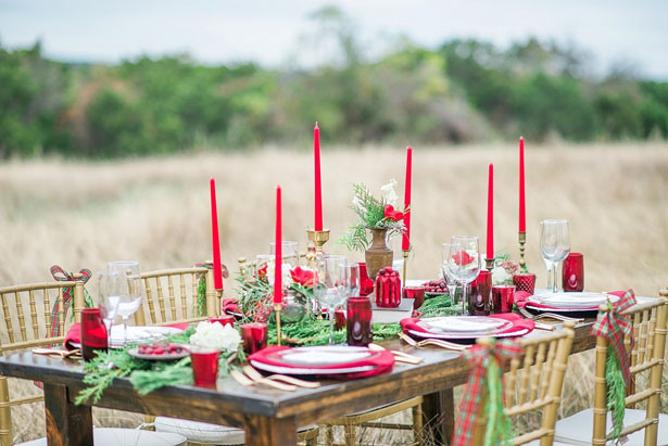 Red wedding tablescape - Dani Cowan Photography