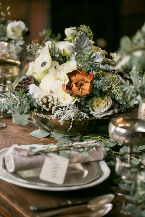 Winter wedding centerpieces - Erin Johnson Photography