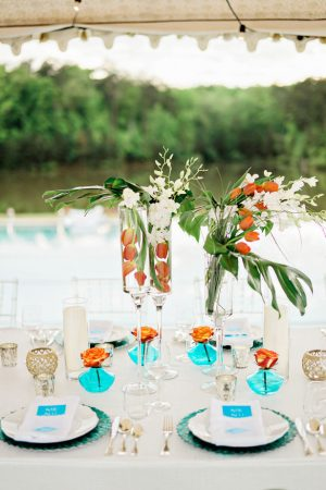 Aqua and Orange wedding tablescape - Andie Freeman Photography