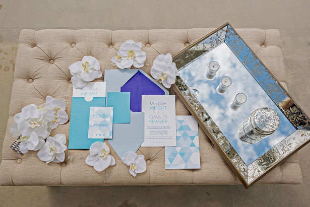 Blue wedding invitation suit - Andie Freeman Photography