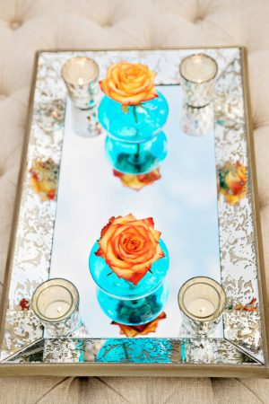 Aqua and Orange wedding decor - Andie Freeman Photography