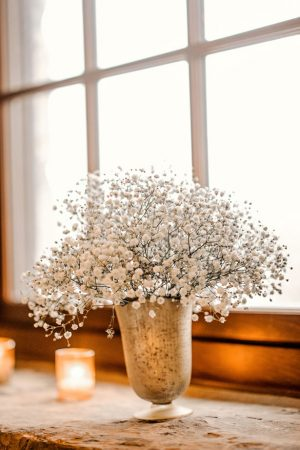 Baby's Breath Wedding Centerpiece - Melissa Avey Photography
