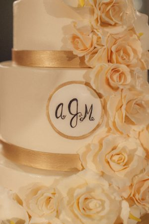 Gold wedding cake - Clane Gessel Photography