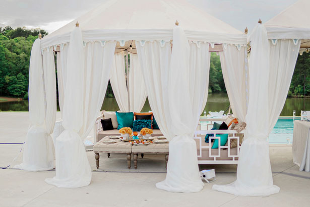 Poolsider wedding setup - Andie Freeman Photography