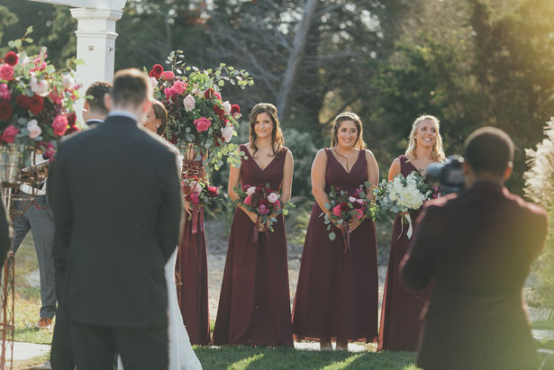 Maroon bridesmaid dresses - OLLI STUDIO