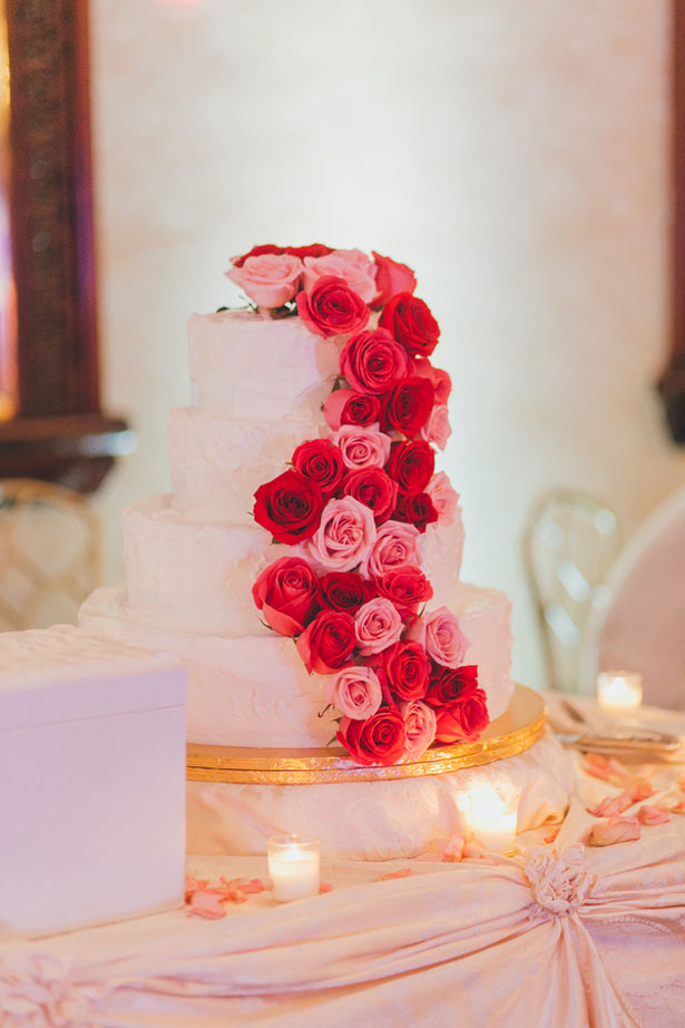 Pink and red floral wedding cake - OLLI STUDIO