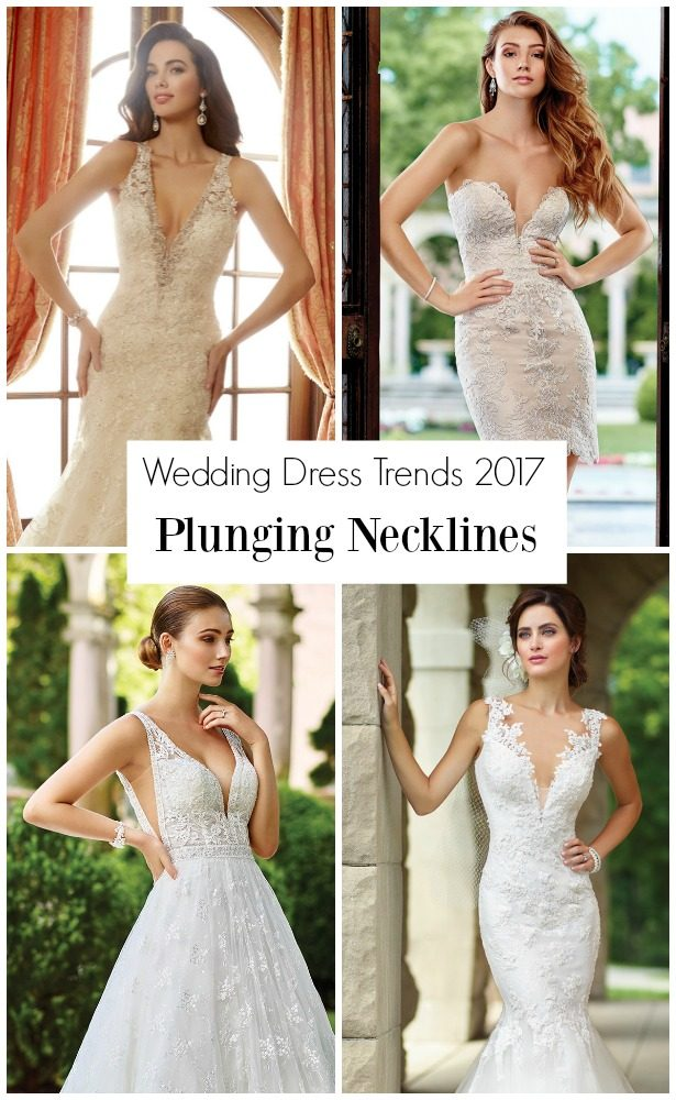 Wedding Dress Trends 2017: Plunging Necklines with Mon Cheri Bridals