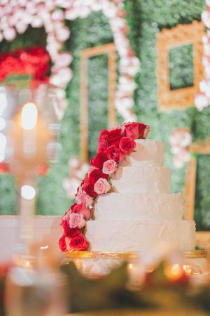 Red and pink wedding cake - OLLI STUDIO