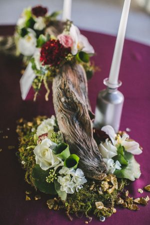 Rustic wedding table arrangement - Alicia Lucia Photography