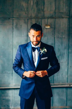 Groom navy blue tuxedo - Derek Halkett Photography