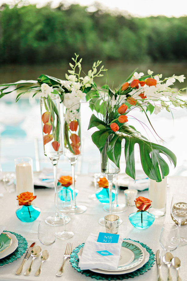 Tropical table ceterpiece - Andie Freeman Photography