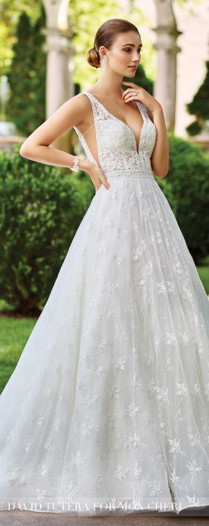 Plunging Neckline Wedding Dress by David Tutera 2017
