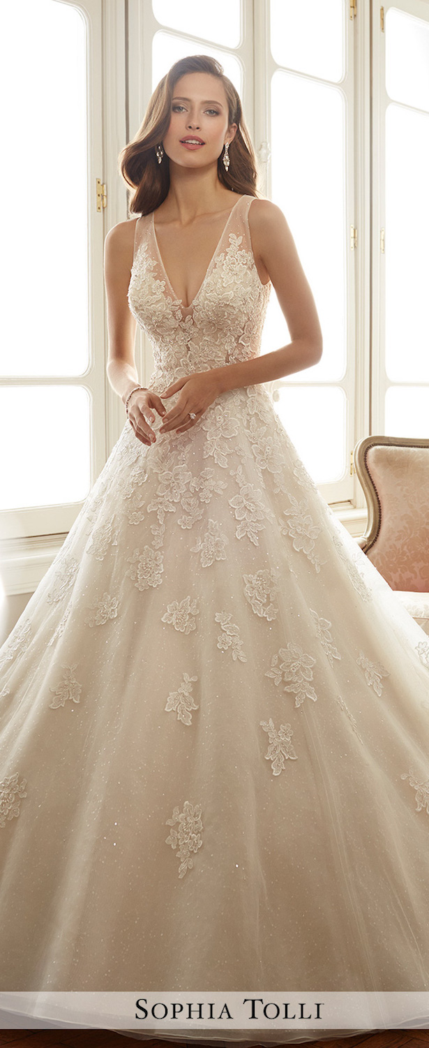 Plunging Neckline Wedding Dress by Sophia Tolli Spring 2017