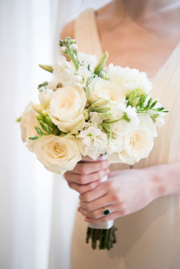 All-white bridal bouquet - Elizabeth Nord Photography