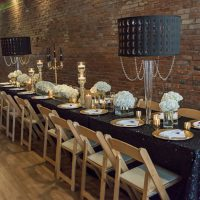 Black wedding table-scape - Rita Wortham photography