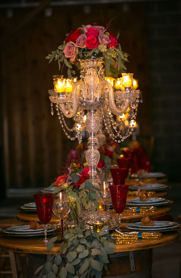 Candelabra wedding centerpice - Aida Malik Photography
