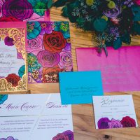 Colorful wedding invitation suite - Aida Malik Photography