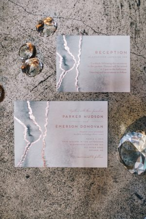 Foil wedding invitation -Erika Layne Photography