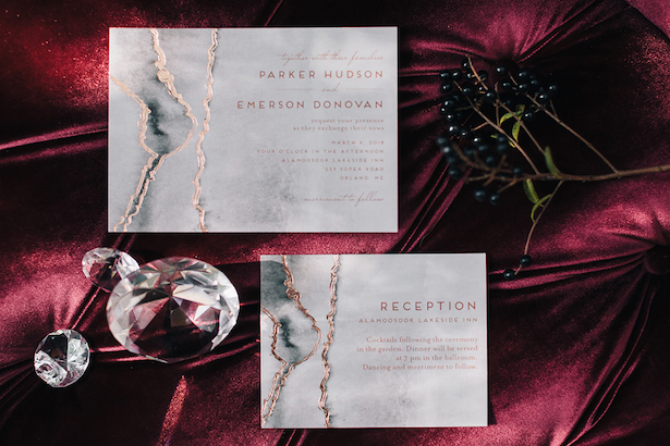 Foil wedding invitation by Minted - Erika Layne Photography