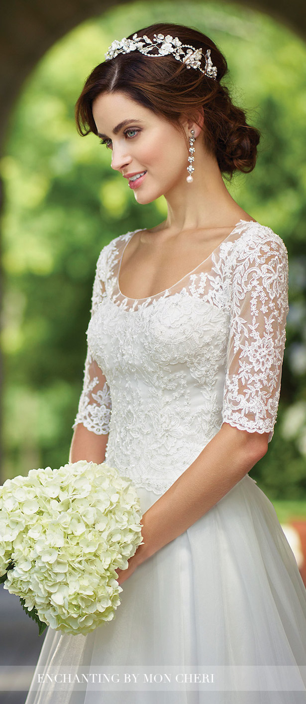 Lace Sleeve Wedding Dress - Enchanting by Mon Cheri Bridals 2017