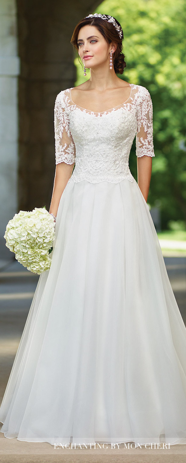 Lace Sleeves Wedding Dress - Enchanting by Mon Cheri Bridals 2017