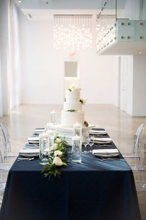 Navy blue wedding tablescape- Elizabeth Nord Photography