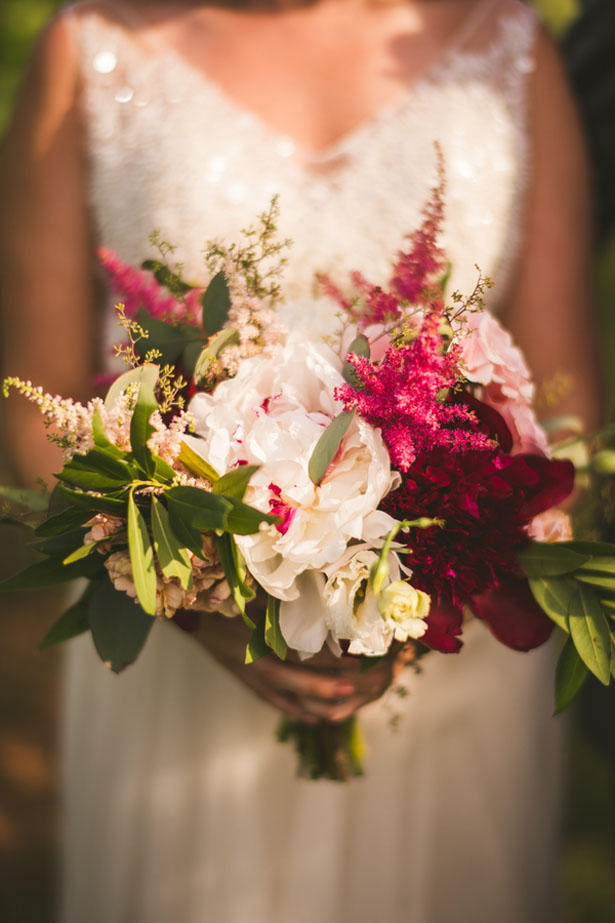 Red and pink bridal bouquet - Sam Hurd Photography