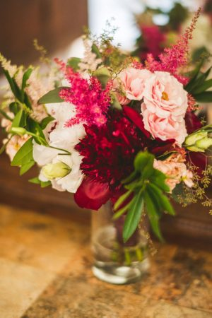 Red and pink wedding bouquet - Sam Hurd Photography