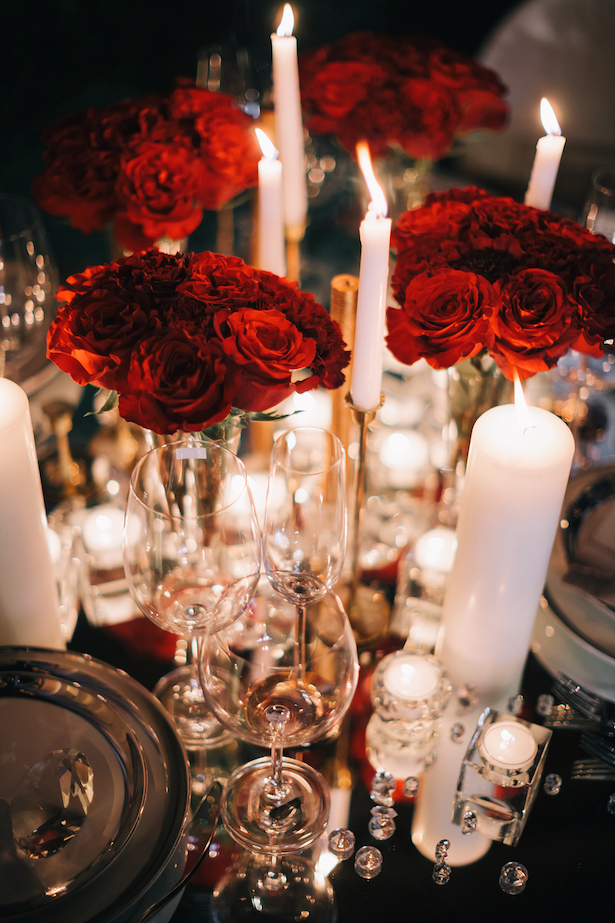 Red floral wedding centerpiece ideas - Erika Layne Photography