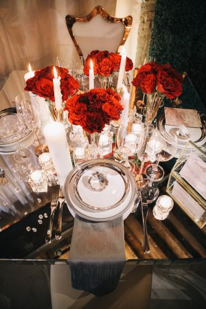 Red rose wedding centerpiece -Erika Layne Photography