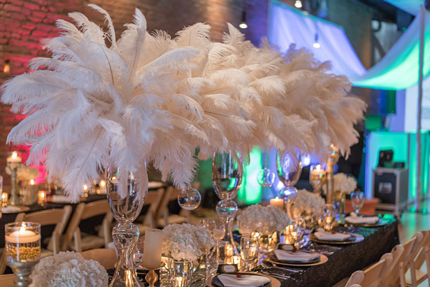 Tall feather wedding centerpieces - Rita Wortham photography