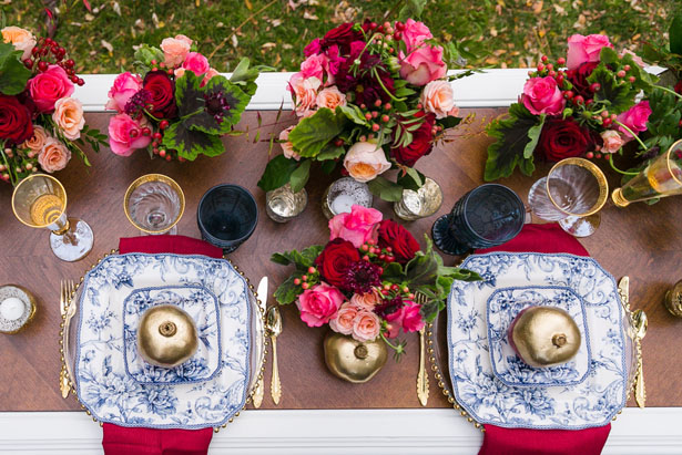 Victorian meets bohemian wedding tablescape - Cimbalik Photography