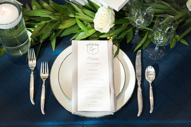Navy blue and green wedding place setting - Elizabeth Nord Photography