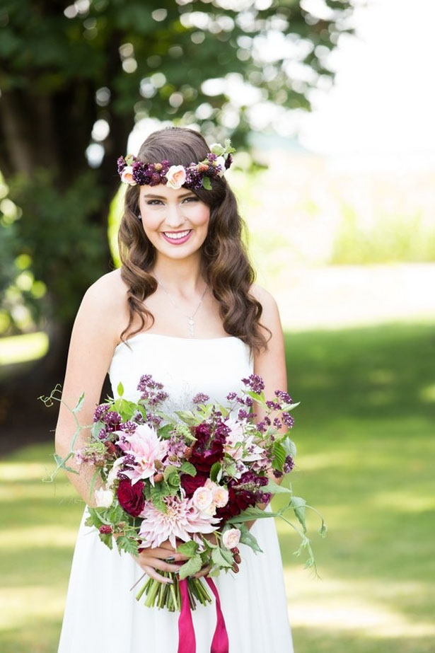 Boho bride with floral crown - LLC Heather Mayer Photographers