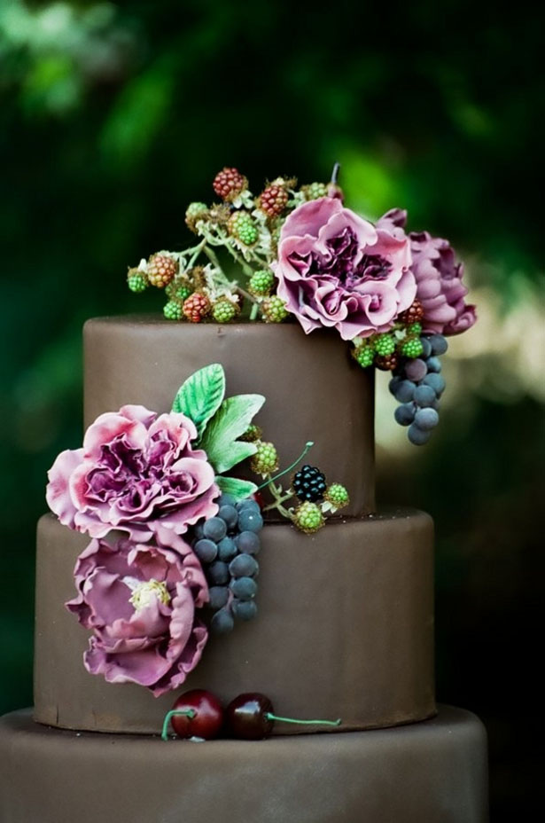 Chocolate wedding cake - LLC Heather Mayer Photographers