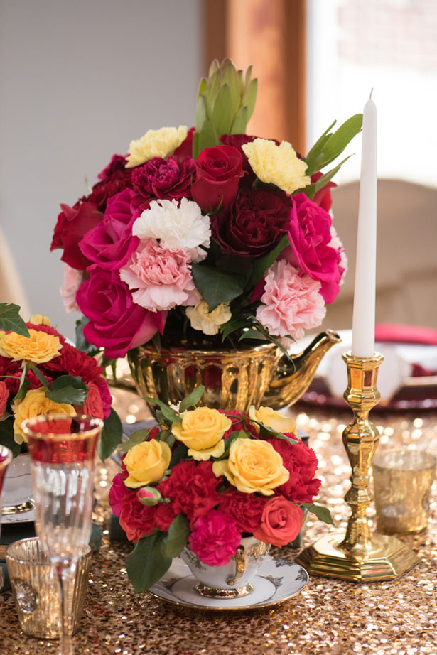 Colorful wedding centerpiece - Corner House Photography