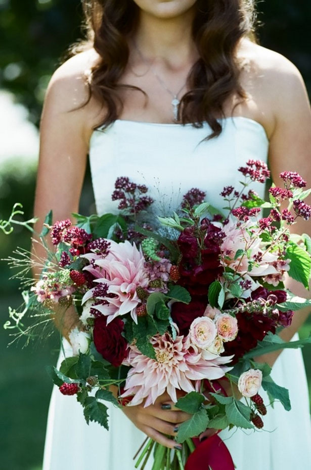 Gorgeous organic wedding bouquet with pink and berry colored flowers - LLC Heather Mayer Photographers