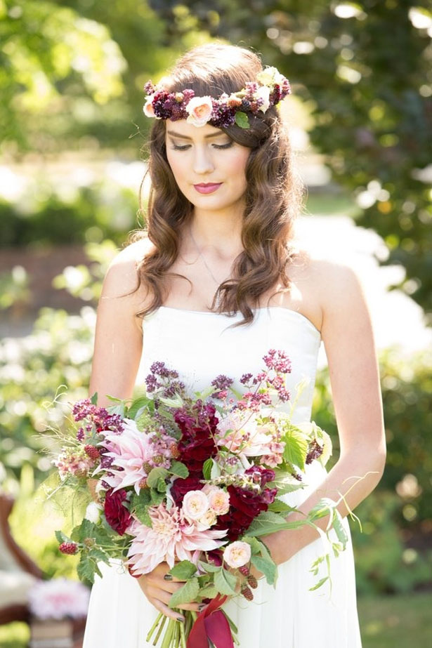 Bohemian bride with floral crown - LLC Heather Mayer Photographers