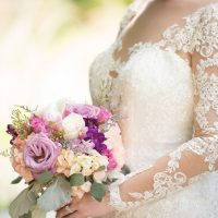 Purple bridal bouquet - Corner House Photography