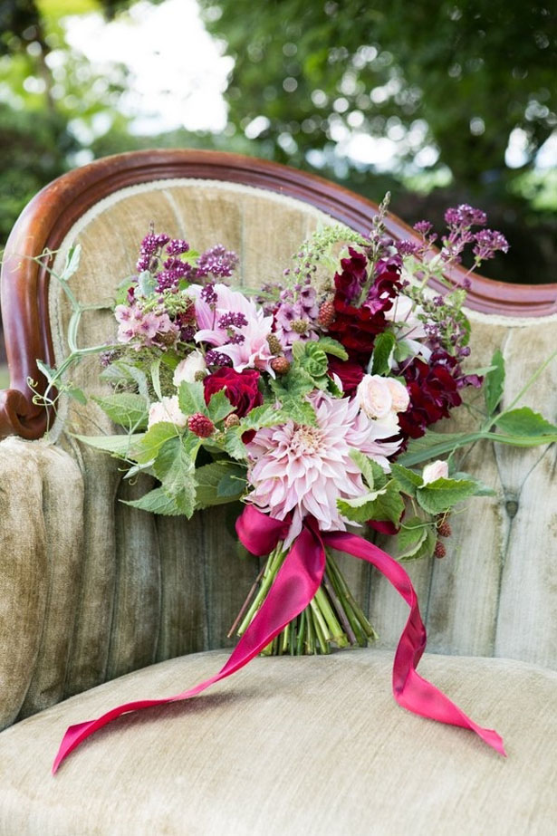 Red and pink wedding bouquet - LLC Heather Mayer Photographers