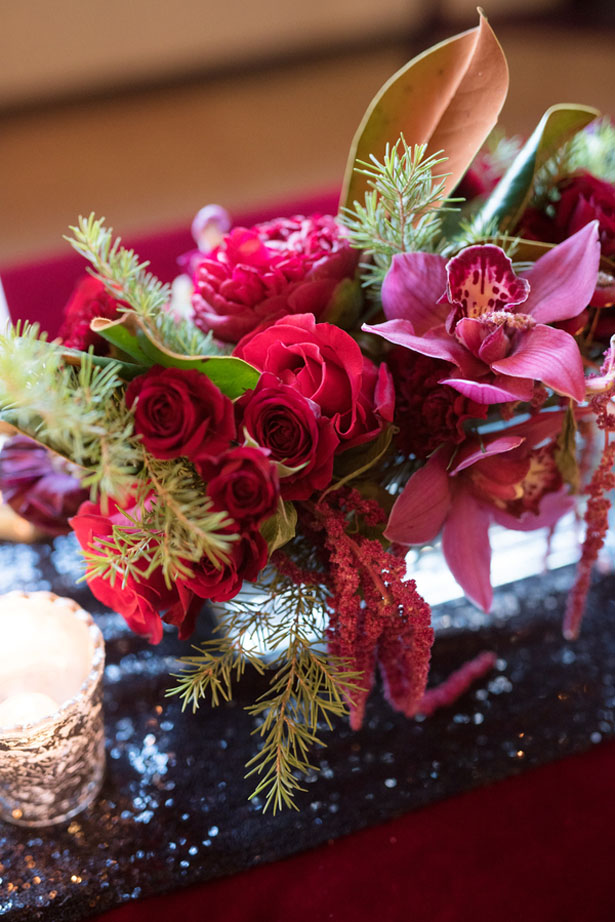 Red floral wedding arrangement - Melissa Sigler Photography