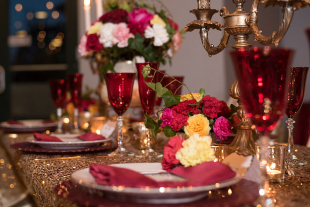 Red wedding table-scape - Corner House Photography