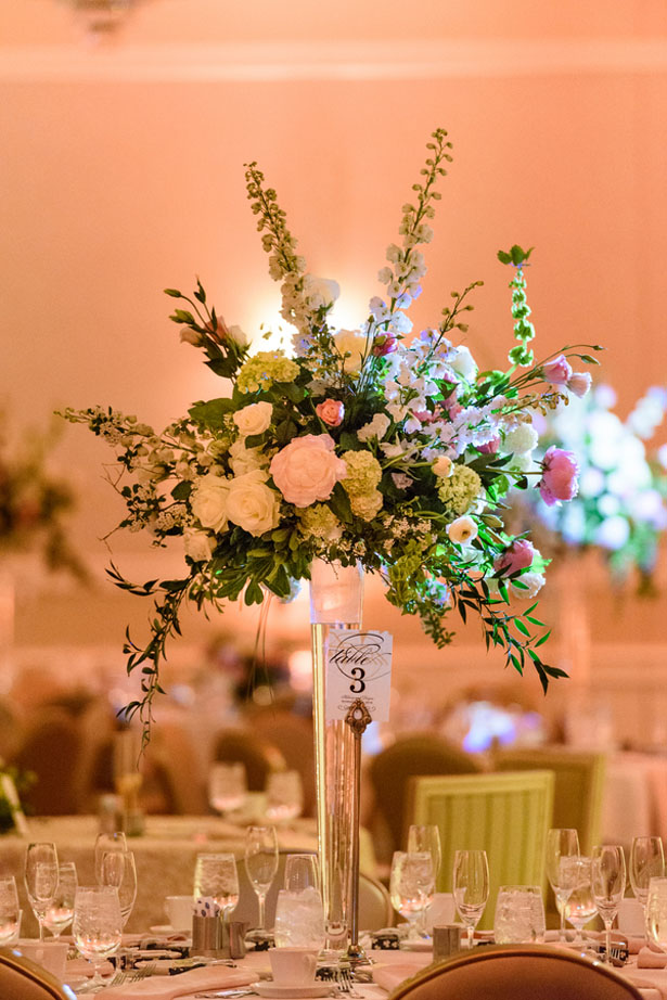 Tall wedding centerpiece - Katie Whitcomb Photographers
