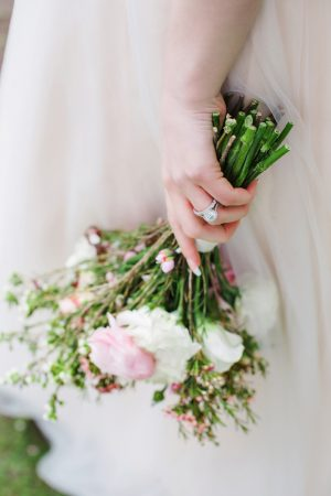 Bridal ring and pink wedding bouquet- Caroline Ross Photography