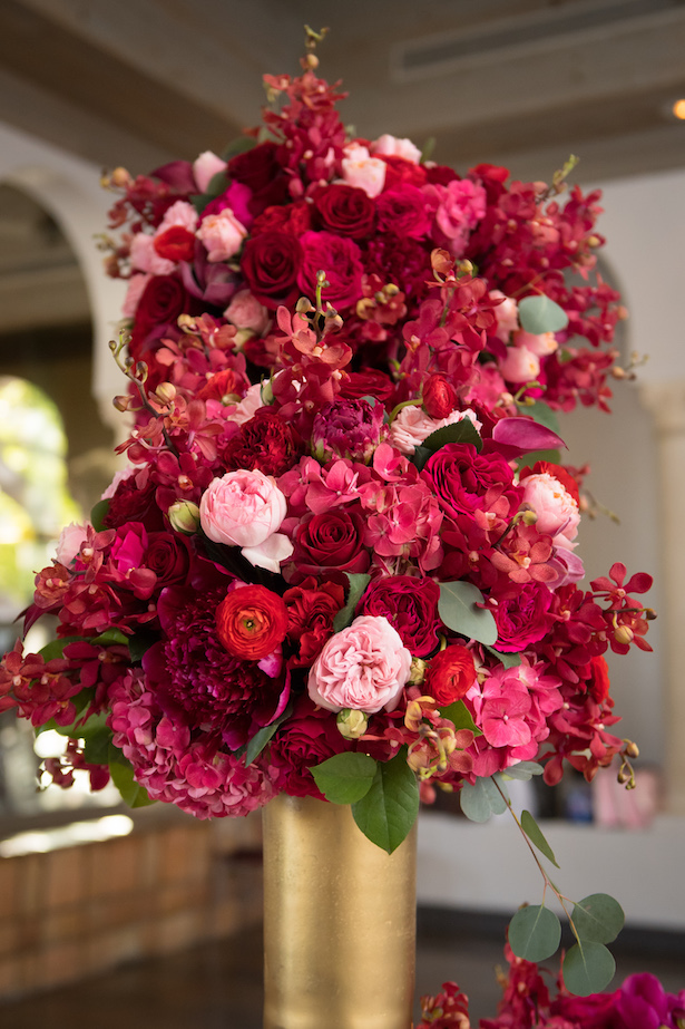 Red, pink and gold wedding centerpiece - Cary Diaz Photography